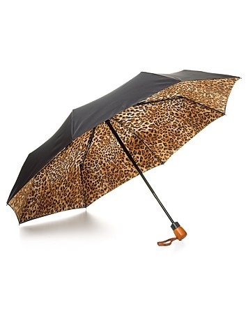 Adrienne Landau Compact Double Canopy Leopard Print Umbrella | Bloomingdale's