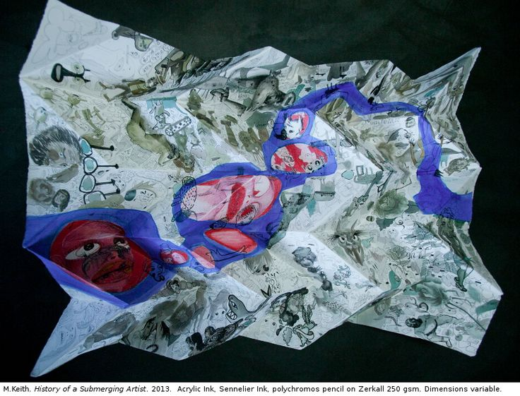 Marlise Keith History of a Submerging Artist 2013 . Paper folded by Beverley Hodgen