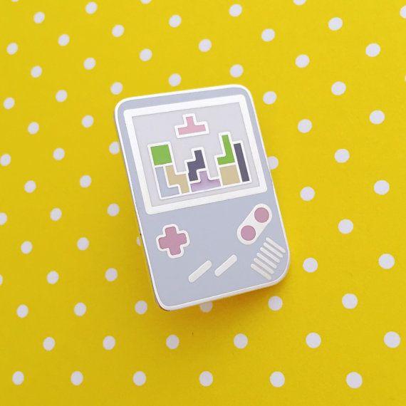 Pastel Gameboy Tetris Enamel Pin Badge Lapel Pin Tie by fairycakes