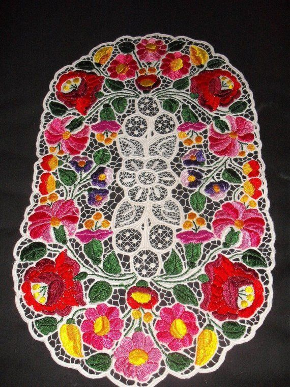 ON SALE Handmade Hungarian Lace Richelieu Folk Embroidery