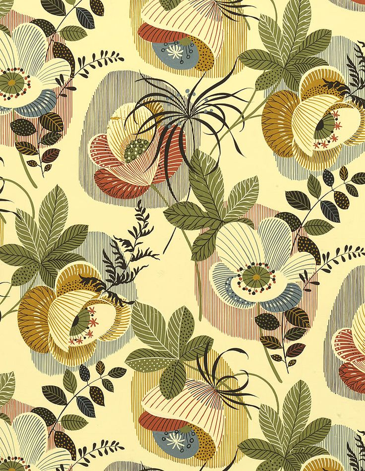 original hand painted designs from the 1950s for textiles and wallcoverings by…
