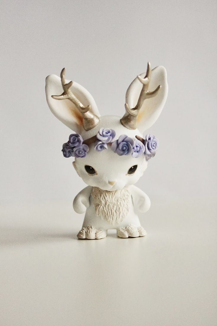 Mijbil Creatures: The Spring Jackalope. Made from polymer clay.