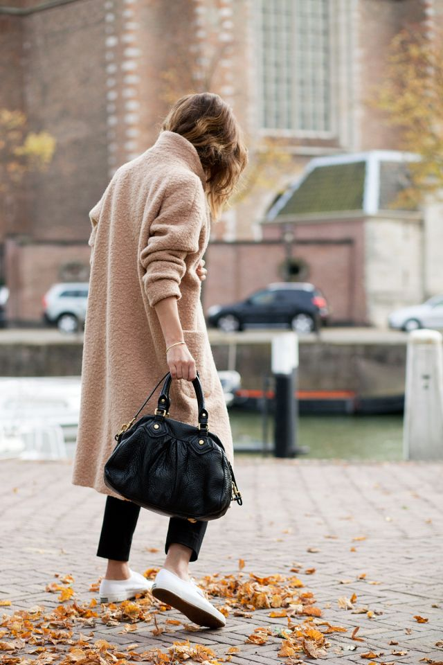 oversized wool camel coat, cropped pants & sneakers #style #fashion