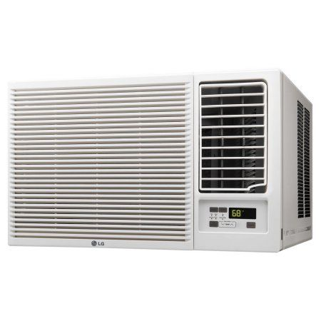 LG 18,000 BTU 230V Window-Mounted Air Conditioner with 12,000 BTU Supplemental Heat Function, Multicolor