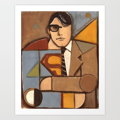 Kent clark superman abstract cubism by Tommervik Art Print by Tommervikpaintings - $80.08