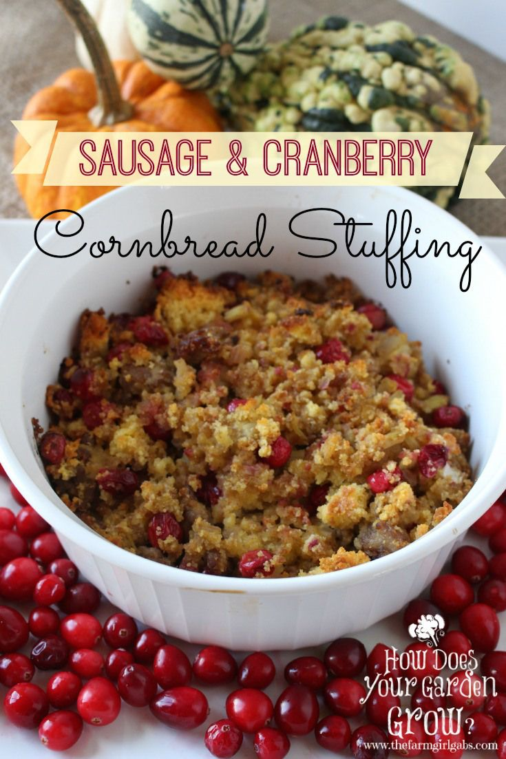Sausage and cranberry stuffing is a delicious Thanksgiving side dish. This stuffing recipe will definitely dress up your holiday turkey.