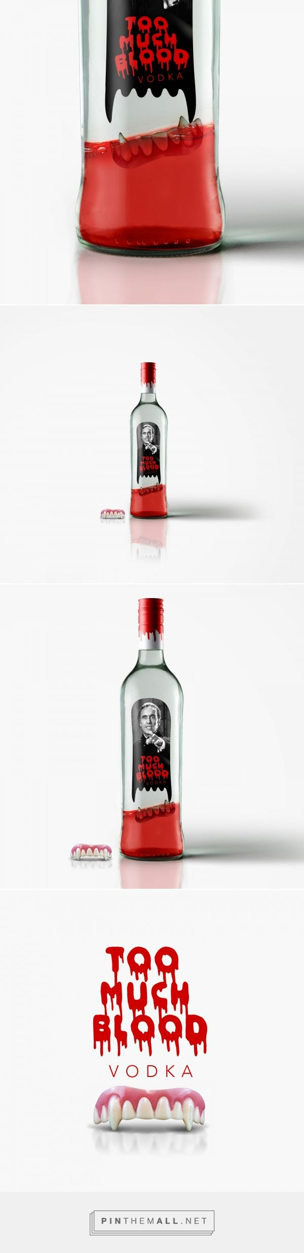 Do you mind a Dracula's teeth inside your vodka? Too Much Blood packaging design by Zapata.pro - http://www.packagingoftheworld.com/2017/10/too-much-blood-vodka-christopher-lee.html