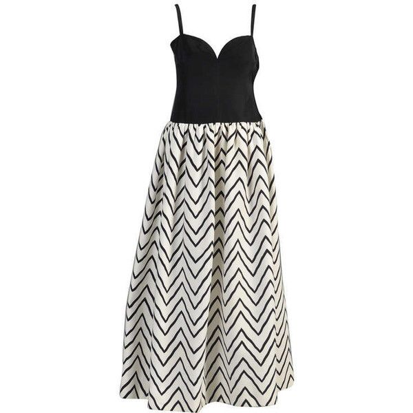 Preowned Yves Saint Laurent Chevron Striped Ball Gown ($800) ❤ liked on Polyvore featuring dresses, gowns, grey, vintage dresses, chevron dresses, gray evening gown, grey evening gowns and spaghetti strap gown