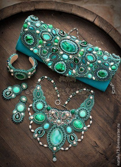 Beautiful blue bead embroidery