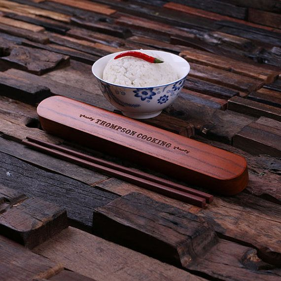 Customized Monogrammed Wooden Chopstick Holder with 1 Pair of Chopsticks Personalized Engraved Wedding Gift (024293)