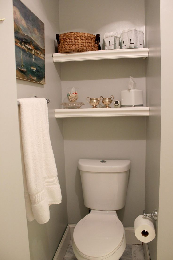 Built in bathroom storage ideas - Bathroom White Double Shelving Above Flush Space For Small Bathroom Decoration Ideas