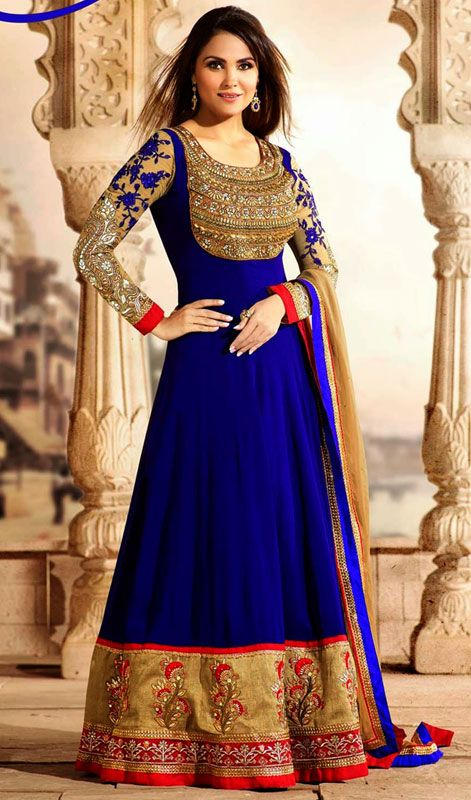 Bollywood Actress Lara Dutta Blue Embroidered Long Anarkali Suit Price: Usa Dollar $197, British UK Pound £116, Euro145, Canada CA$211 , Indian Rs10638.