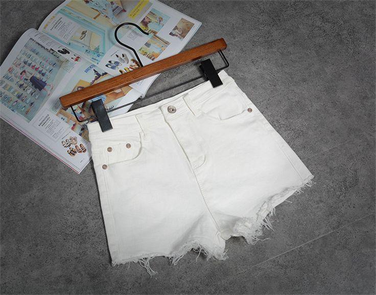 Korean New White Celana Pendek Wanita Casual Fashion Short Jeans Cintura Alta Tassel Denim High Waisted Black Shorts C2328
