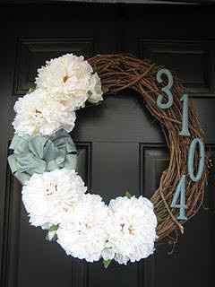 Easy!: Address Wreaths, Front Door Wreaths, Cute Ideas, Cute Wreaths, Spring Wreaths, Wreaths Ideas, House Numbers, Front Doors Wreaths, Flower