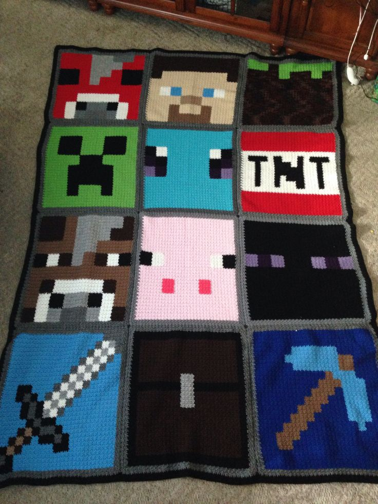 Minecraft blanket #1 Using the blanket as a sample to recreate one character in a twin size blanket. Hope it comes out nice. Using polar fleece.