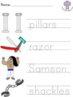 Samson and Delilah Picture Clue Read and Trace