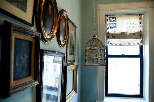 Air Mail roman shade and frames