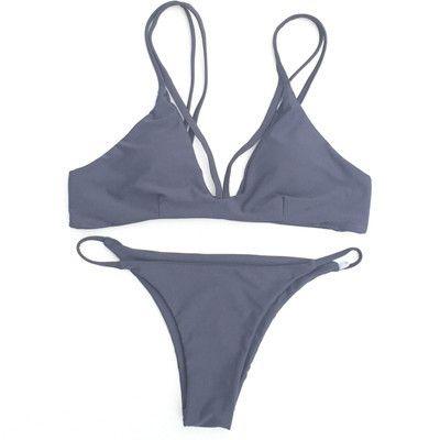 New Padding Solid Vintage Bikini Retro Sexy Reversible Swimsuit Women Bathing Suit Brazilian Biquini