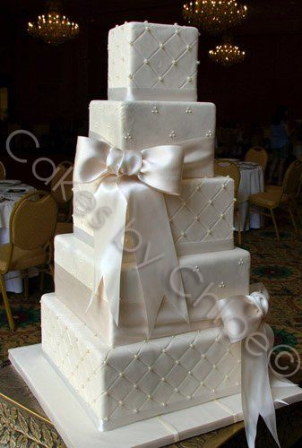 Wedding Cake Love The Square Look And Have The Ribbons A Color