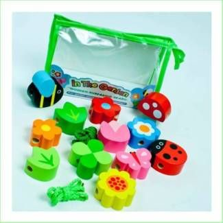 Wooden Threading Beads In the Garden By Meadow Kids Toys Gifts From Green Ant Toys Online Toy Shop www.greenanttoys.com.au http://www.greenanttoys.com.au/shop-online/educational-toys/fun-learning/threading-beads-in-the-garden/
