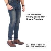 celana panjang jeans navy thin brown pull and bear / ce Diskon