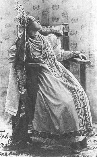 Zabela-Vrubel as Marfa 1899.The death of Marfa. Nadezhda Zabela-Vrubel sang the role in the premiere of the opera. (Private Opera Society, Moscow, 1899)