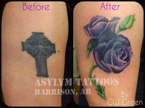 Asylum Tattoos, Harrison, AR - an older cross tattoo, turned into a beautiful rose! #tattoo #coverup #rose #cross #color #tattoosbyasylum