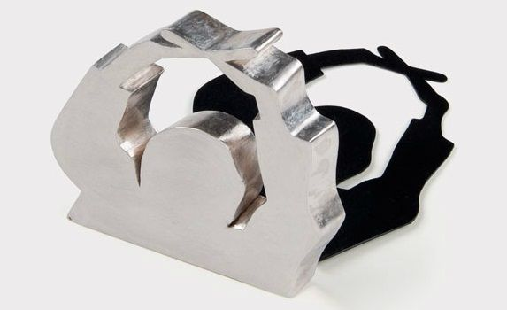 winfried Kruger - brooch (2 pieces) - silver, aluminium, lacquer 1987