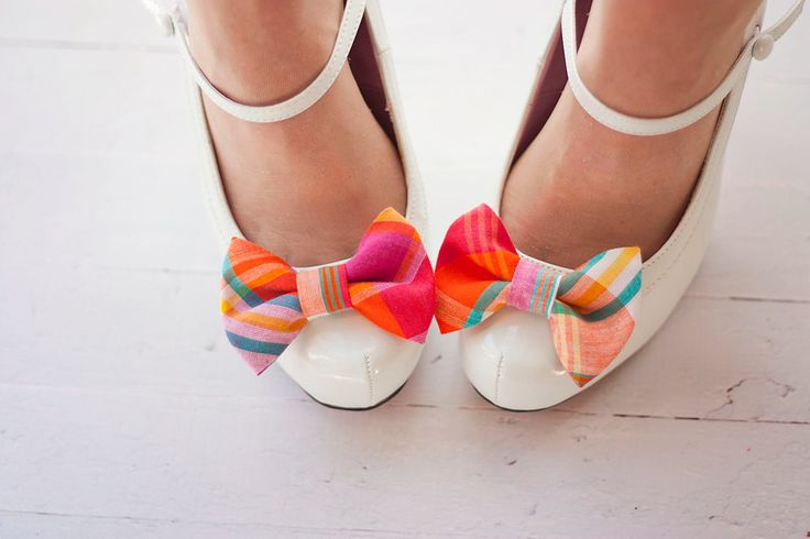 The Belle- preppy plaid fabric shoe clip bows- fuchsia, orange, and teal. $20.00, via Etsy.