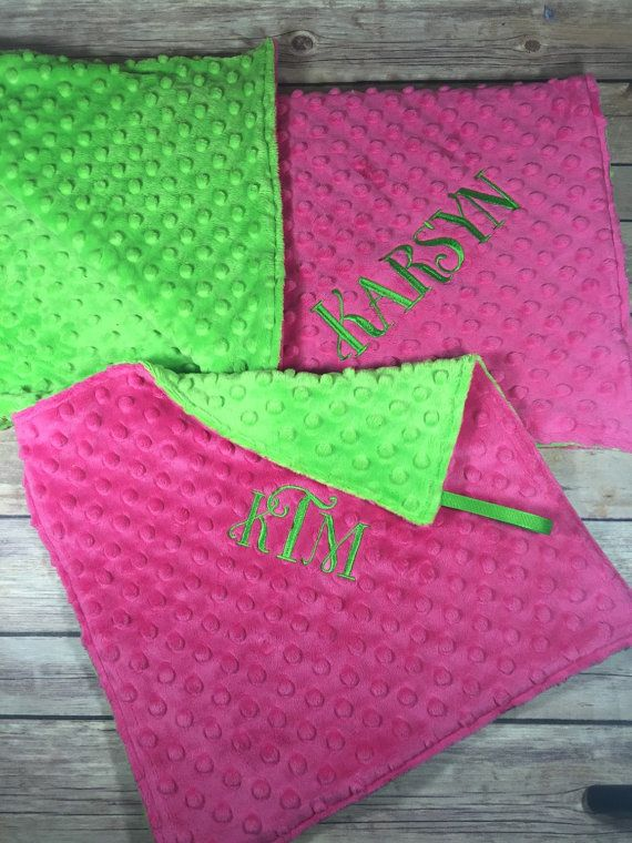 Bright Pink Lime Green Blanket and Pacifier Blanket Gift Set