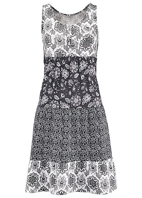 Grey Floral Tiered Jersey Dress by John Baner JEANSWEAR