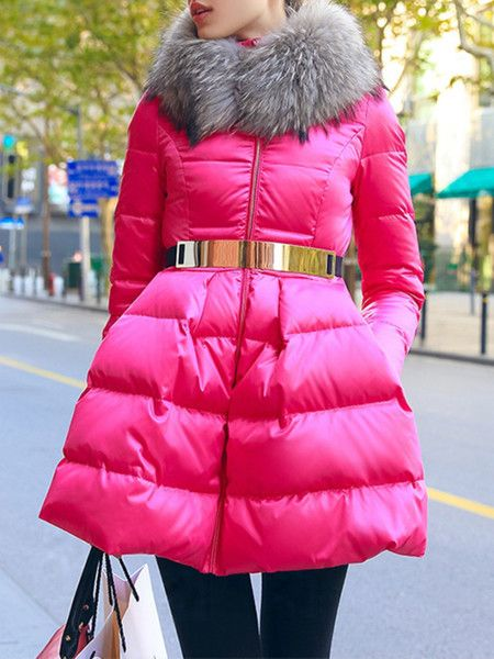 Pink Paneled White Goose Feather Down Coat