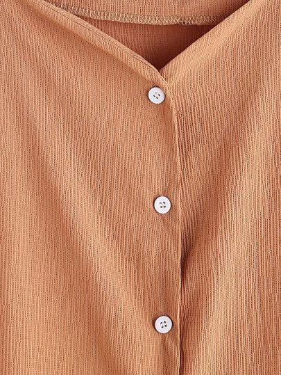 Cold Shoulder Button Front Top