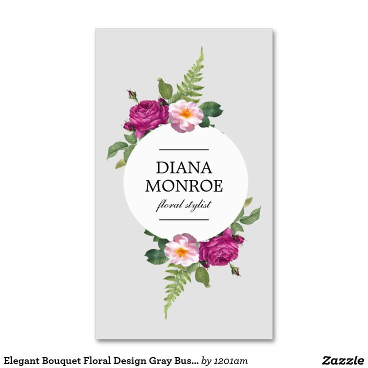 modern circle floral wreath gray business card business