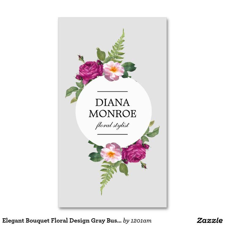 Modern Circle Floral Wreath Gray Business Card