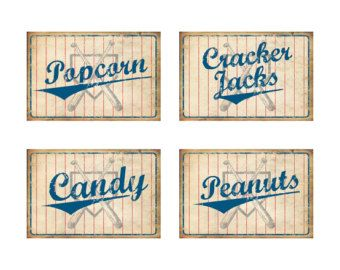 Vintage Baseball Party CONCESSIONS Banner Sign by PickleGraphics
