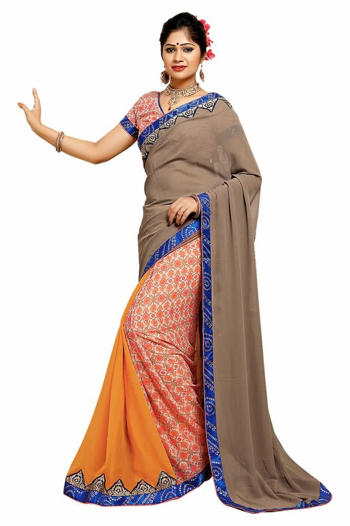 buy saree online Multi Colour Georgette Weightless Printed Saree Buy Saree online - Buy Sarees online