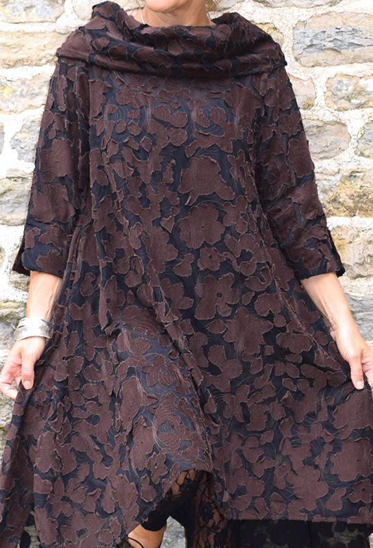 Paris Tunic, appliqued brown flower, £265.