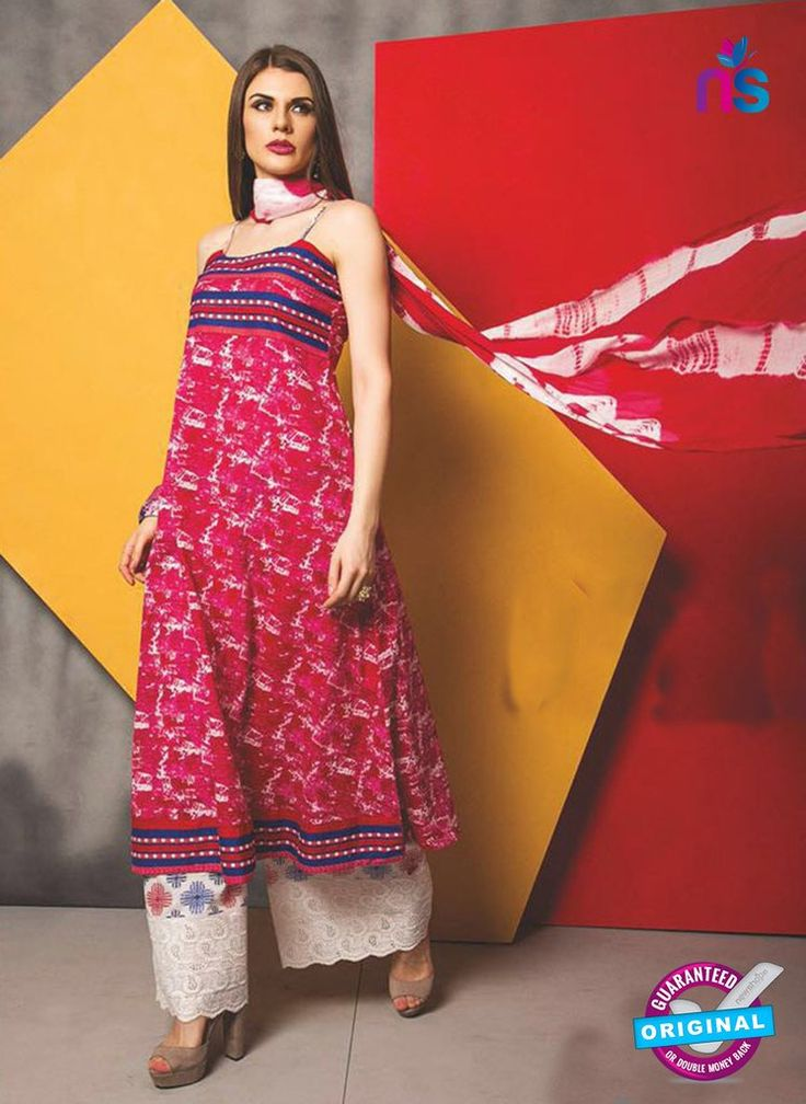 SC 13485 Red and White Designer Un-stitched Plazo Suit