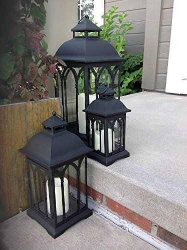 Outdoor Lantern, Outdoor Lighting, Outdoor Decor, Black Pebbles, Black  Lantern, Pillar Candles, Amazon Com, Wedding Decorations, Lanterns