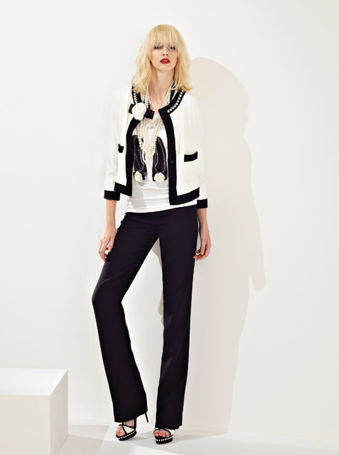 Black and white bouclé jacket. Ballerinas t-shirt and white camelia broach. All from Anna Rachele S/S '13 collection