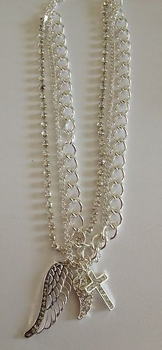 Cowgirl MUST HAVE! Boot Jewelry Boot Chain - BLINGED OUT, Silver Toned, Triple Strand, Wing & Cross Charms