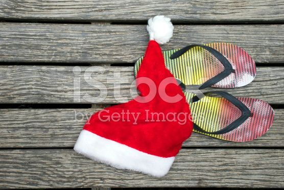 Kiwiana Summer, Jandals & Santa Hat royalty-free stock photo