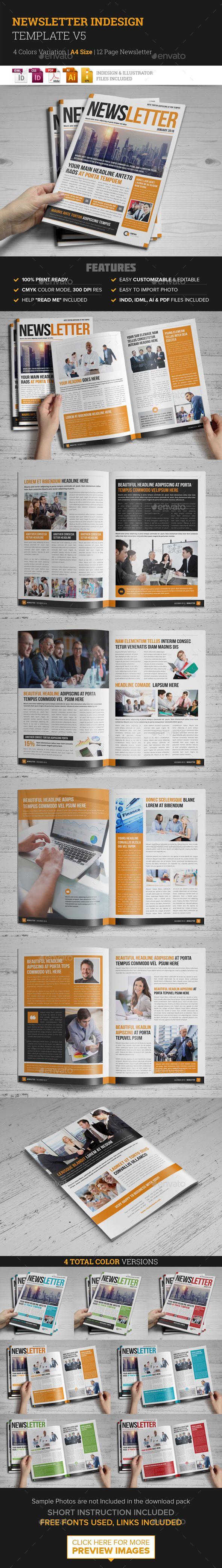 12 Page Newsletter Template InDesign INDD #design Download: http://graphicriver.net/item/newsletter-indesign-template-v5/14402584?ref=ksioks
