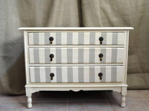 Love this antique dresser with the original handles and the grey and white stripes