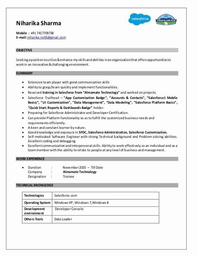 Salesforce Administrator Resume Examples Best Of Final Salesforce Resume Niharika Sharma Resume Examples Good Resume Examples Medical Coder Resume