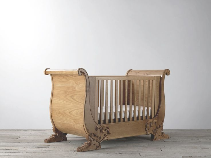 With its beautiful curves and magnificent wave of wood rising sitting proudly on its hand carved oak feet, the windsor sleigh cot is a stunning addition to any nursery. Handcrafted from solid oak, it is built to last. With its adjustable mattress positions, it is suitable from birth it then becomes a toddler bed and, ultimately, an elegant sofa bed. www.Bambizi.co.uk