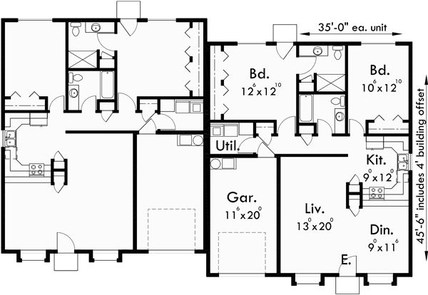 Main floor plan for d 410 single level duplex house plans Duplex floor plans with garage