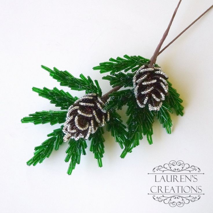 beaded pinecone branches