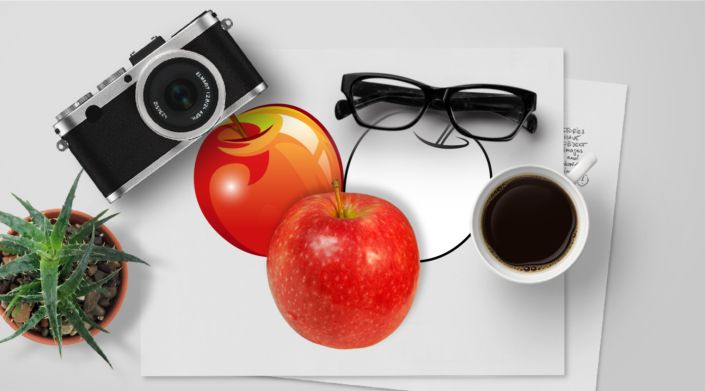 Apple, Red : Photo, Vector, Black and White Outline